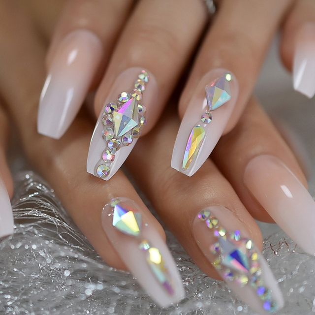 Us 1 48 10 Off Luxury Fake Nails Designer Extra Long Ombre French Jewelry Pre Designed Nails Natural Stiletto Ab Stones Decoration Tips In False