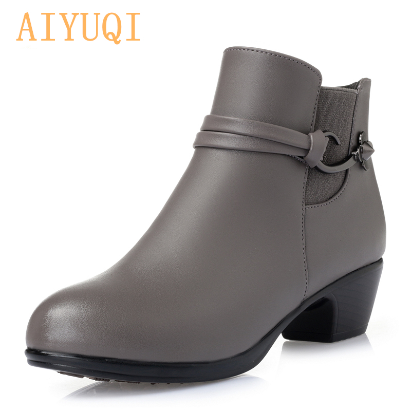 AIYUQI 2020 New Winter Genuine Leather Women's Martin Boots Wool Warm Ankle Boots Large Size 41 42 43 Gray Party Boots Women