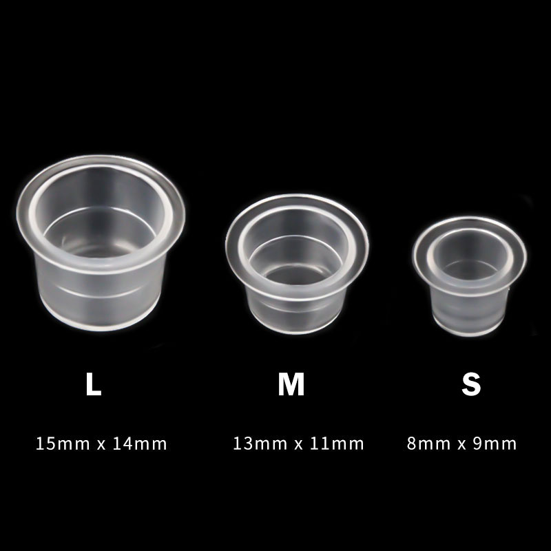 100pc S / M / L Disposable Plastic Microblading Tattoo Ink Cups Permanent Makeup Clear Pigment Cap Holder Container Tattoo