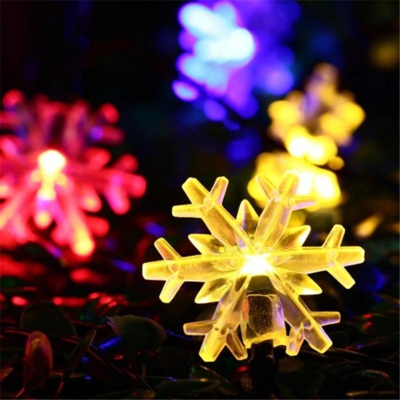 LED Snowflake String Light 1 M / 2 M / 5 M / 10 M LED Fairy Lights Christmas Wedding Decoration Lighting Battery Operation Flash