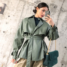 2019 New Designer PU Leather Jacket Women Faux Belt Coat Casual Female Streetwear Outwear Jackets High Quality