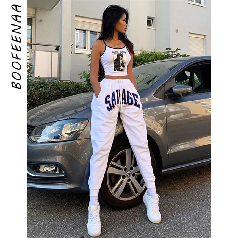 BOOFEENAA Letter Print White High Waist Sweat Pants Women Spring 2020 Fashion Streetwear Joggers Hip Hop Loose Trousers C87-AD98