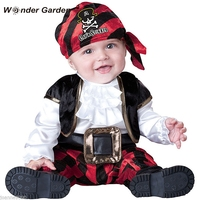 Wonder Garten Infant Kleinkind Baby Jungen Viking Pirate mit kapuze Gürtel Halloween Cosplay Outfit Purim Urlaub Kostüm-in Strampelanzüge aus Mutter und Kind bei