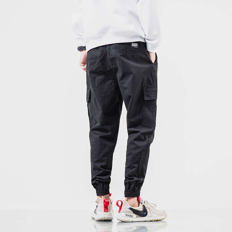 2019 Spring And Autumn New Style Casual Pants Men's Solid Color Ankle Banded Pants Pocket Decoration Skinny Baggy Pants Elastic