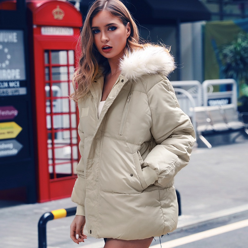 Зимняя куртка женская однотонная теплая верхняя одежда на молнии съемный меховой воротник пальто с капюшоном свободная черная белая женск