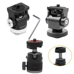 Image 1 - Hot Shoe Mount Mini Balhoofd 360 Panoramisch Monitor Houder Camera Pan Tilt 1/4 Koud Schoen Adapter Voor Statief Licht flash Bracket