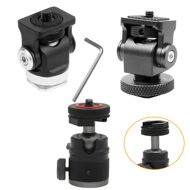 Hot Shoe Mount Mini Balhoofd 360 Panoramisch Monitor Houder Camera Pan Tilt 1/4 Koud Schoen Adapter Voor Statief Licht flash Bracket