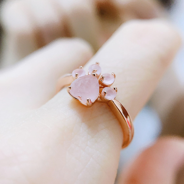 LAMOON Sterling Silver 925 Jewelry Rings For Women Pink Paw Rose Quartz Ring Rose Gold / White Gold Platd Gemstones Jewellery 2