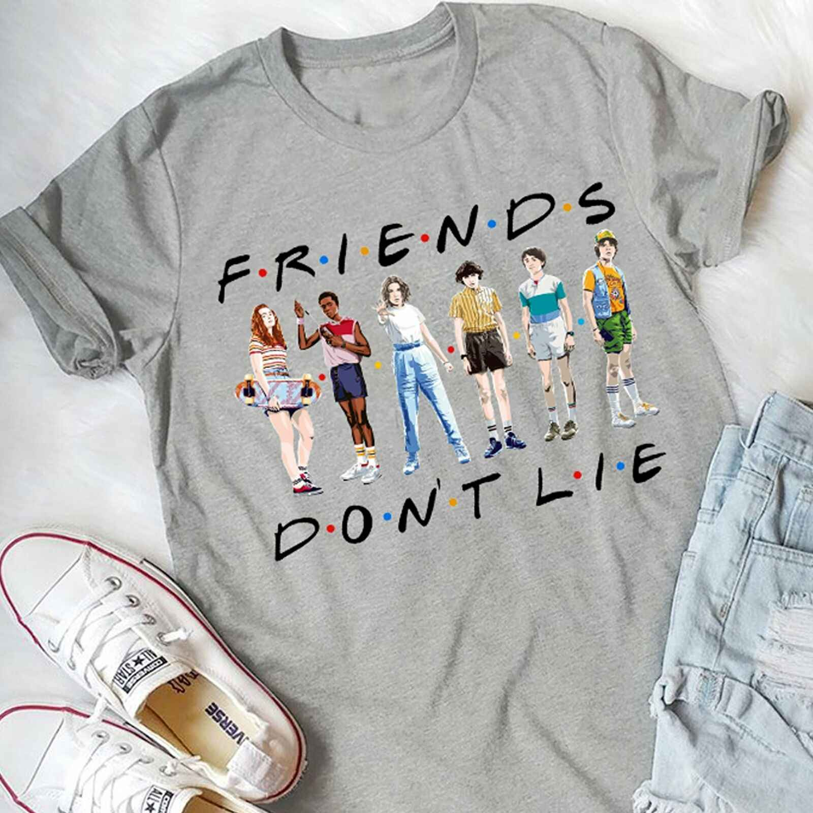 Friends Don't Lie Stranger Things Season 3 Best Friends Gifts Tee ShirtFashion T-Shirts Summer Straight 100% Cotton