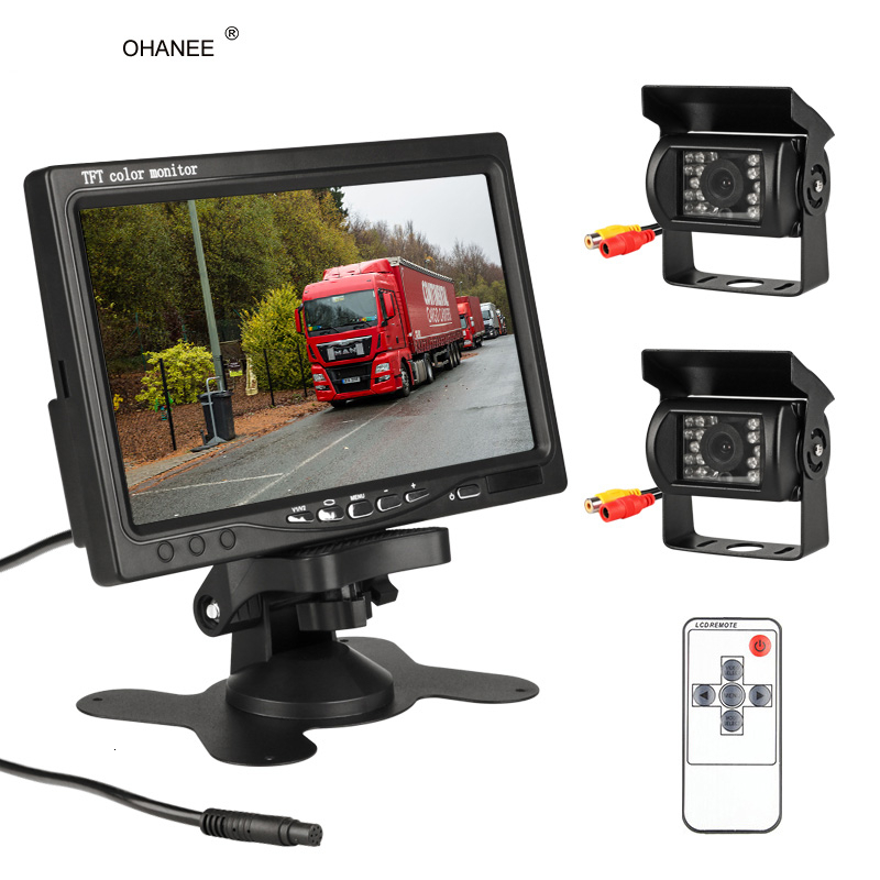 OHANEE 7 Inch Wired Car monitor TFT LCD Rear View Camera Two Track rear Camera Monitor For Truck Bus Parking Rear view System|Vehicle Camera| |  - title=