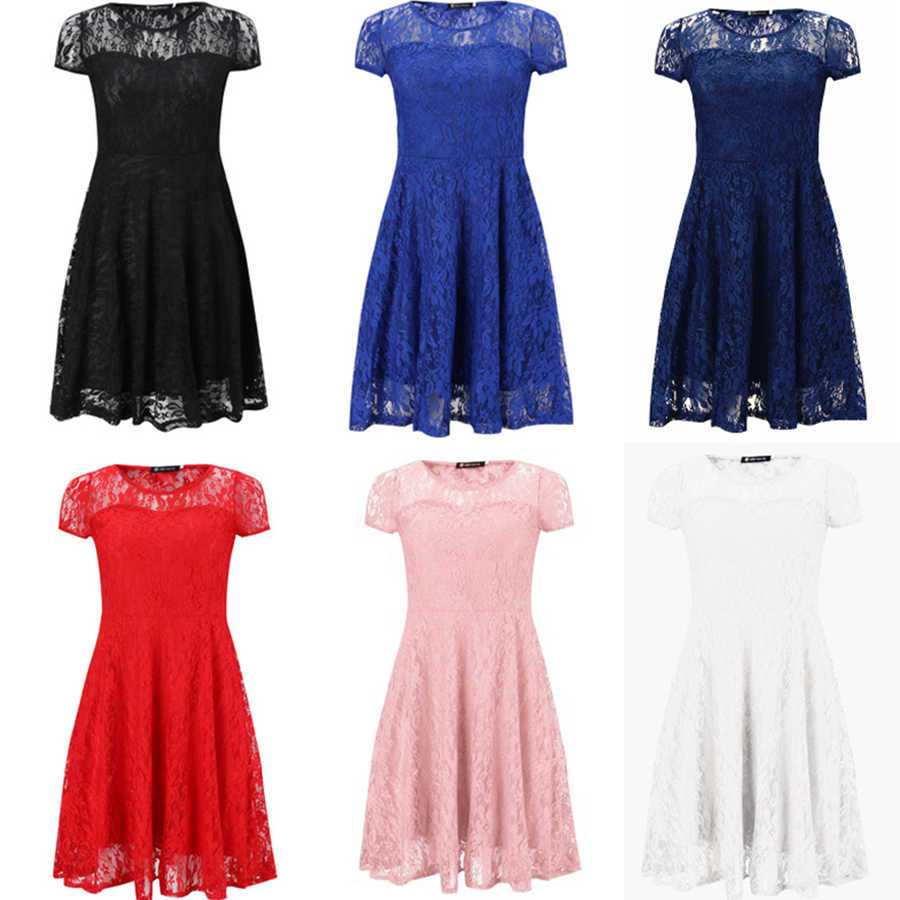 Sexy impression col rond dentelle robes femmes Vintage à manches courtes évider robe d'été femme mode a-ligne robe de soirée pour dames