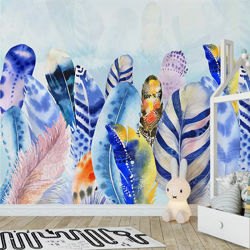 Custom Mural Wallpaper 3D Watercolor Hand-painted Feather Frescoes Living Room TV Bedroom Background Wall Paper Papel De Parede