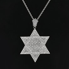 LK Stainless Steel Men's Hip Hop Star of David Pendant Necklace Fashion Retro Hexagram Pendant Hip Hop Necklace Jewelry Gift(China)