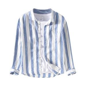 Image 5 - 男性春の秋のファッションブランドリネン長袖身廊ブルーストライプパッチワークターンダウン襟カジュアル古典的な男性のシックなシャツ