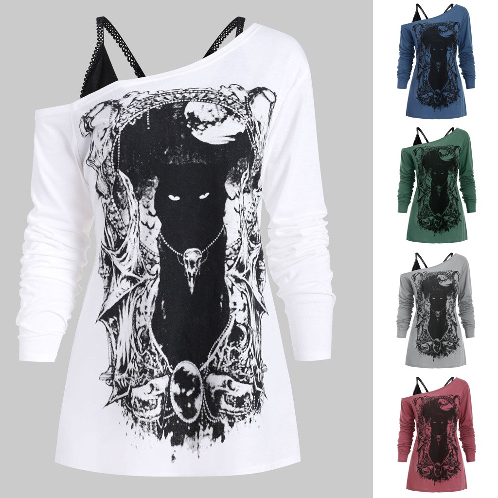 Fashion Blouse Women Shirt Skew Neck Cold Shoulder Cartoon Print Gothic Tee With Cami Women Tops Free Ship блузка женская Z4