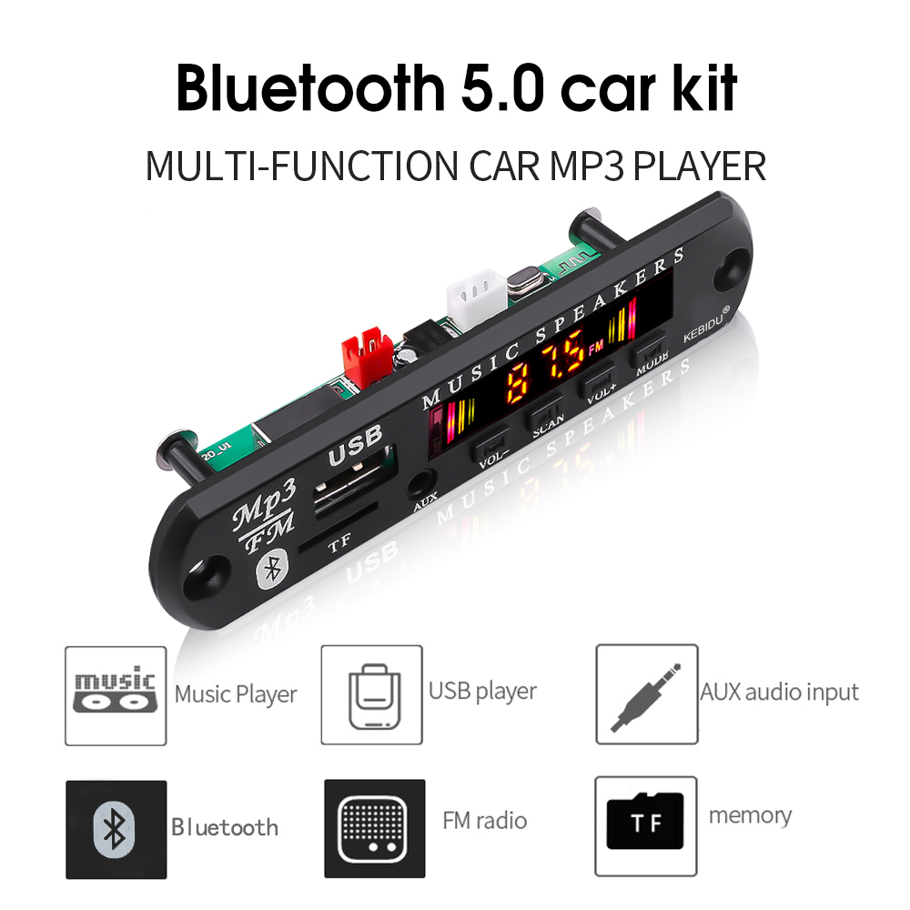Placa decodificadora de mp3 para carro, bluetooth 5.0, mp3 wma, 5v 12v, usb, tf, rádio fm, módulo