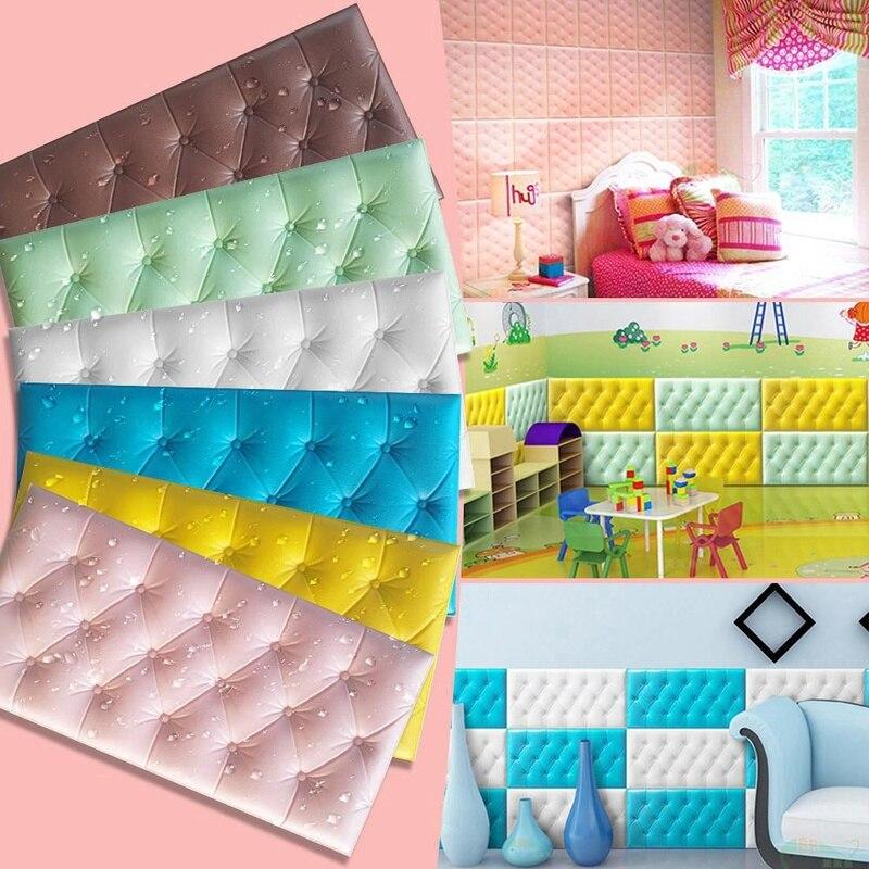 Pegatinas de pared autoadhesivas 3D, estera de pared anticolisión, Tatami grueso, cojín suave para cama de dormitorio de niños