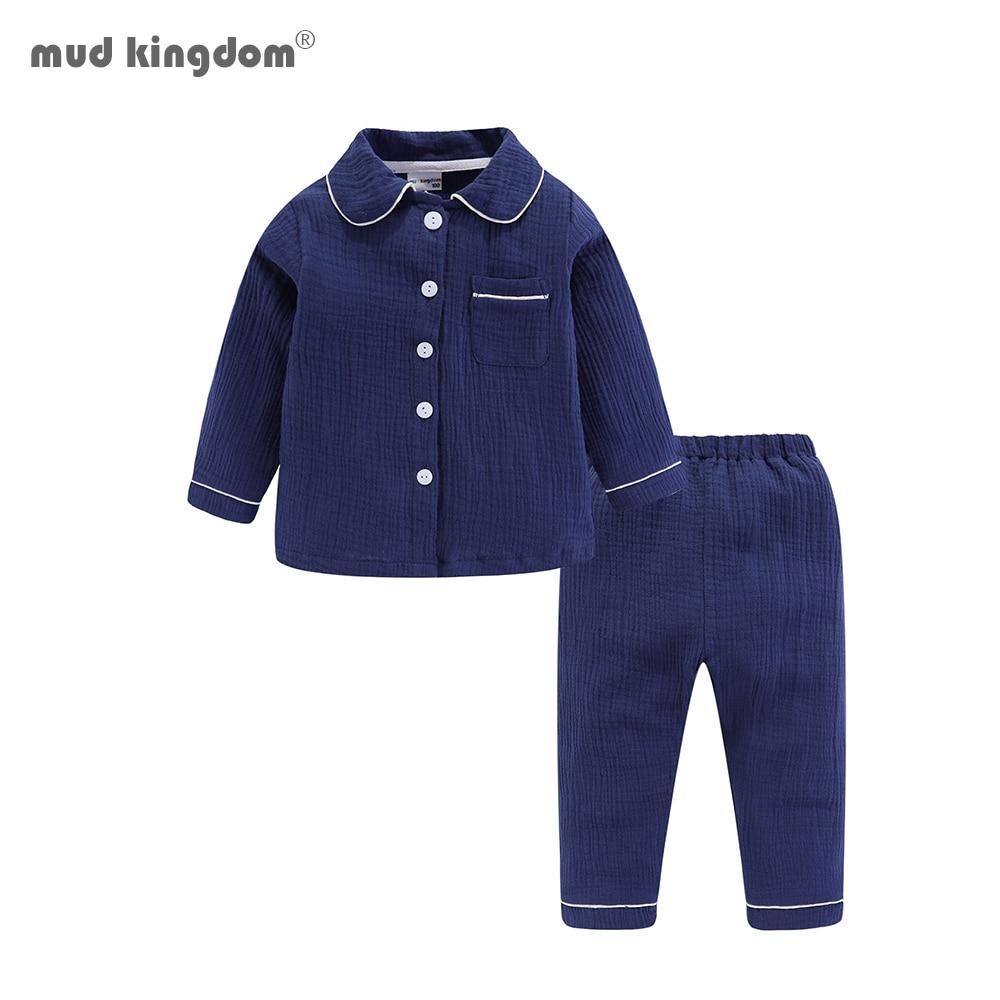 Mudkingdom Boys Pajamas Set Plain Collared Long Sleeve Spring Autumn Kids Sleepwear Clothes Set 1