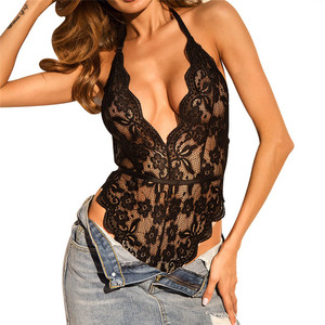 Womens Sexy Mesh Backless Halter Bodysuit Transparent Female Body Hot Teddies 2020 Deep V Sheer Babydoll Jumpsuits Lingerie