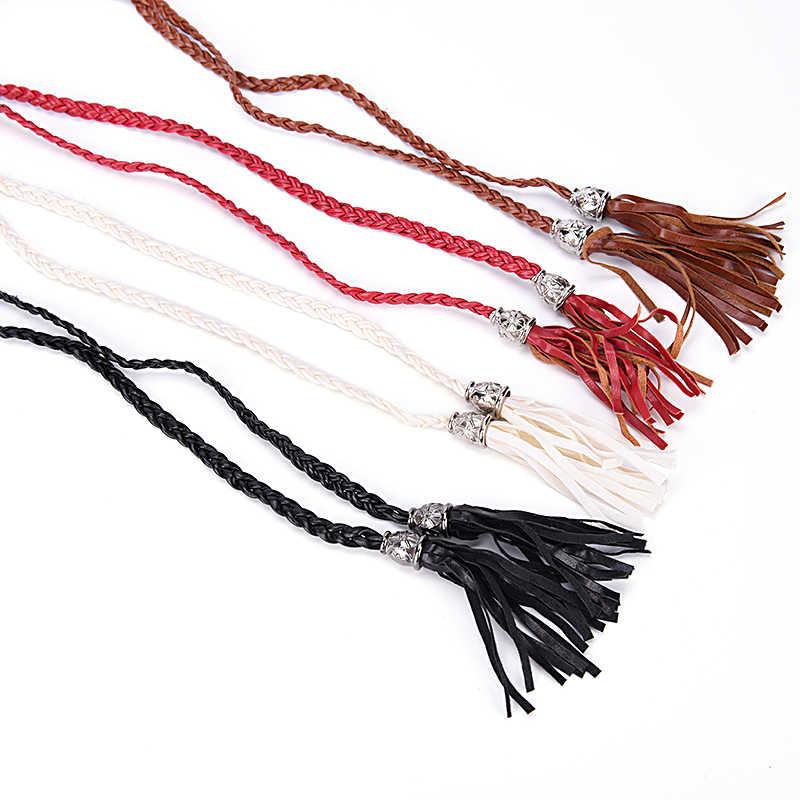 Boho Women.Simple PU Leather Tassel Braided Self-Tie Belt Thin Waist Rope Be DD