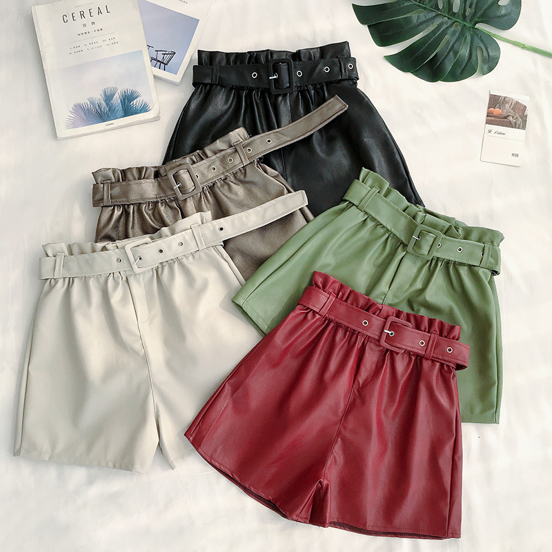 Hot 2019 High Waist PU Leather Shorts Women Sashes Wide Leg Shorts Punk Style Spring Autumn Winter Casual Loose Short Feminino