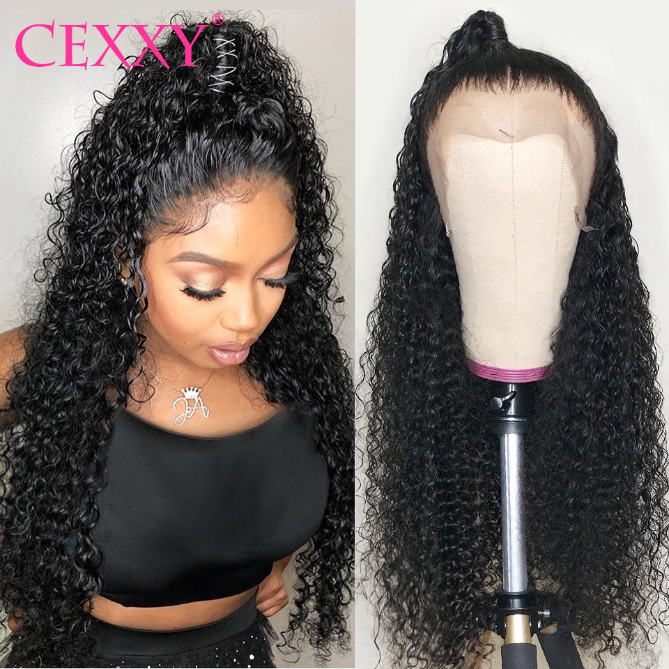Cexxy encaracolado peruca do cabelo humano brasileiro onda profunda do laço frente perucas de cabelo humano para as mulheres 180 densidade glueless peruca do laço completo 30 polegada