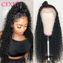 CEXXY kręcone ludzkie włosy peruka brazylijski głęboka koronkowa fala przodu włosów ludzkich peruk dla kobiet 180 gęstości bezklejowa peruka typu Lace pełna 30 cal