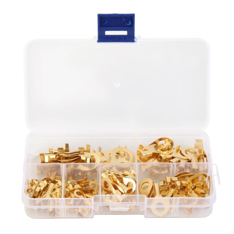150PCS Insulated Crimp Ring Terminals Wire Connectors Spade Electrical Kit /& Box