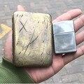 Пометка ножа Чистая медь гравировка портсигар 16 парк сигарет анти-давление портативный пепельница для хранения Винтаж сделать старый