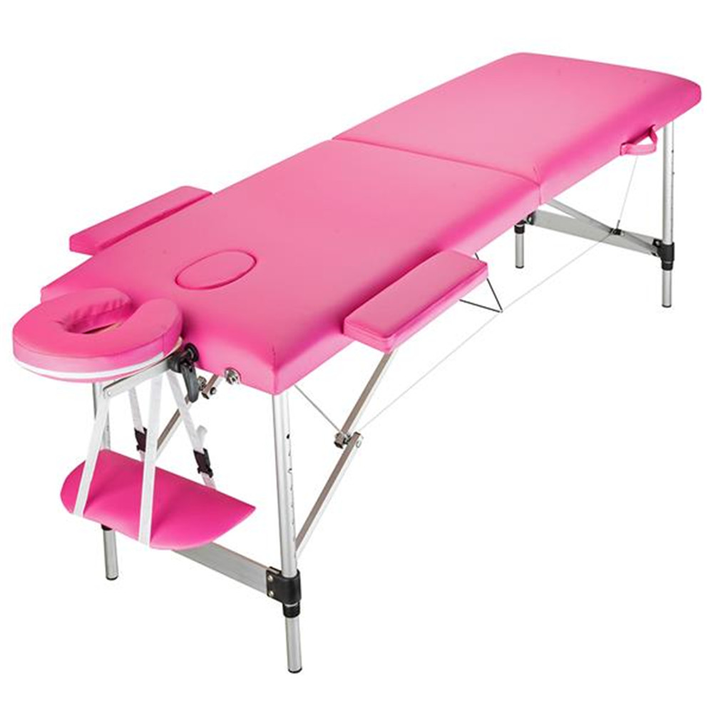 Hot Sales 2 Section Folding Portable Aluminum Foot Beauty Massage Bed 60CM Wide Pink Beauty Salon Beauty Bed