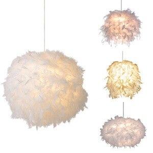 Modern Fluffy Pendant Light Lamp White Feather Shade Droplight Lighting Bedroom Study Room Decoration Creative Hanging Lamp 220V