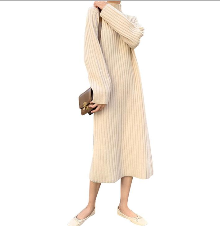 Women Winter mid calf ,,,,.,.Long Sweater Dress Turtleneck long sleeve Elegant solid color brief slim Knitted dresses pullovers
