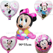 (5pcs/lot) minnie baby birthday balloons include unicorn heart style foil for party
