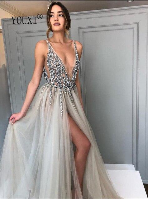 Beading Prom Dresses Long 2021 V Neck Light Gray High Split Tulle Sweep Train Sleeveless Evening Gown A-Line Backless Vestido De 5