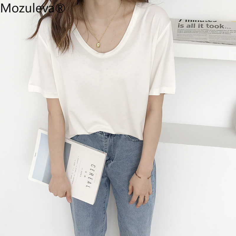 Mozuleva O-neck 12 Colors Options Women T-shirt Short Sleeve Loose Cotton 2020 Female Basic Tops Shirt Spring Summer Ladies Tees