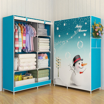 Romantic wardrobe fabric simple  reinforced clothes storage cabinet   cloth