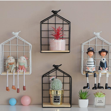 Nordic simple bird iron art grid shelf creative home living room decoration wall collection finishing frame