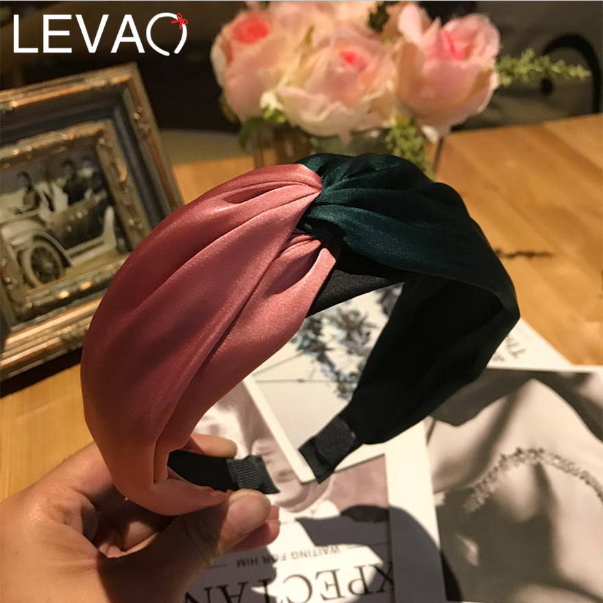 Levao Classical Patchwork Color Satin Hairbands For Women Simple Muti-color Plastic Wide-edged Headbands For Fashion Girls Party