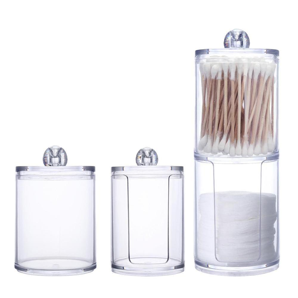 Hisopo de algodón acrílico organizador de maquillaje caja de almacenamiento portátil contenedor de maquillaje y algodón joyero cosméticos organizador caja de almacenamiento Caja de almacenamiento de pasteles, tocador de escritorio para el hogar, estante de perfume de tocador para baño, estante de acabado giratorio, bandeja organizador de tortas