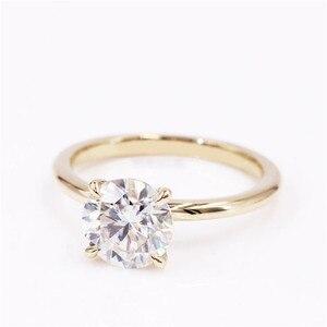 Image 3 - CxsJeremy 2.0Ct yuvarlak Solitaire Moissanite nişan Ring14K sarı altın Moissanite elmas düğün Band yıldönümü hediyesi