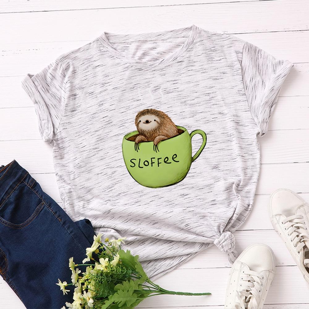 New Coffee Sloth Women T-shirt Casual Summer Cotton Animal Printed T Shirt Cute Cartoon Basic Tops Harajuku Tees Plus Size