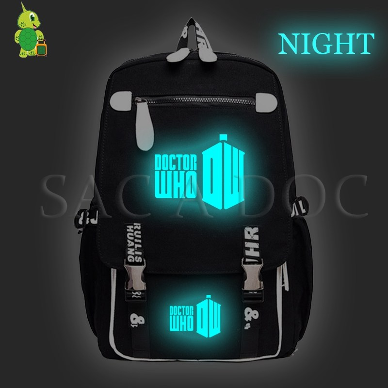 Doctor Who Luminous Daily Backpack Canvas School Bags for Teenage Girls Boys Large Capacity Travel Bag Women Men Laptop Backpack