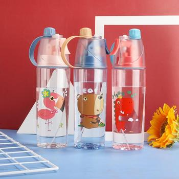 Portable 400/600ml Kids Children Cartoon Bear Bird Leakproof Water Bottle Outdoor Sports Spray Cup Outdoor Spray Cups With Straw image