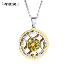Legenstar Fashion Chain Necklace Women Pendants Charm 3D Three Layers Stainless Steel Jewelry Yellow Zircon Choker Collier Femme