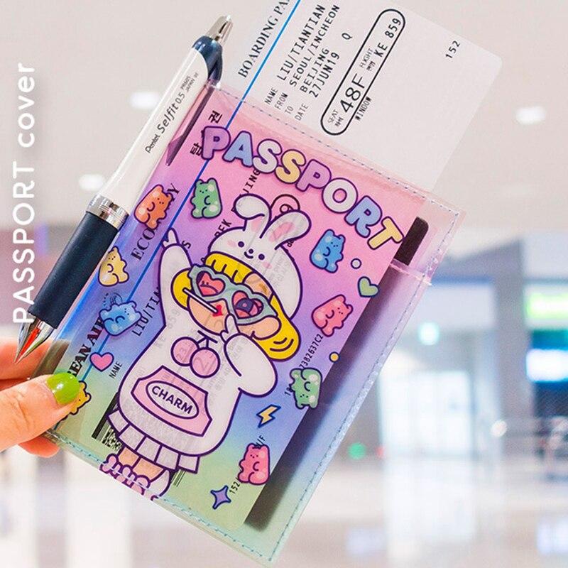 Travel Accessories Fashion Girl Transparent Passport Covers Holder ID Bank Card Passport Women PU Leather Wallet Case 14*10.3cm