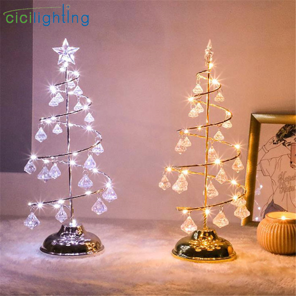 Gold Silver led christmas String light bedroom christmas decoration table lamp warm white cold white desk decor night light
