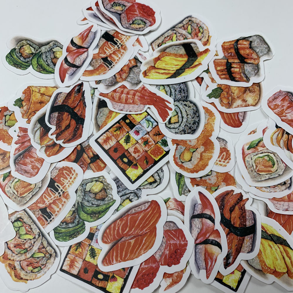 34pcs/lot Japanese Style Journal Stickers Lovely Food Delicious Kawaii Sushi Decorative Stickers DIY Scrapbooking Diary Escolar