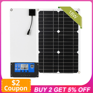Solar Panel Dual USB Port Off Grid Monocrystalline Module with Solar Charge Controller Solar Battery Outdoor Car Use