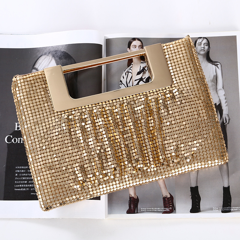 Luxy Moon Gold Clutches Women Hand Bag Wedding Purse For Bridal Night Club Party Sequin Evening Bag Chain Shoulder Bags ZD1488