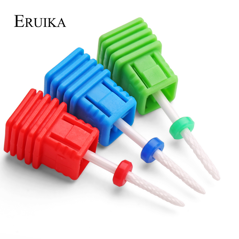 ERUIKA Ceramic Cuspidal Nail Drill Bit 3 Size Milling Cutter 3/32'' Apparatus For Manicure Nail Art Nail File Drill Accessories